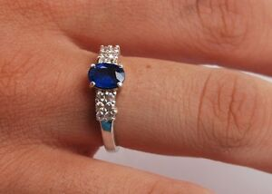 Blue Sapphire with White Sapphire Accents Ring Size 7 - Sterling Silver