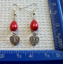 Red bead earrings with Tibet silver hearts