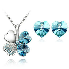 Silver Plated Ocean Blue Crystal Heart Pendant Necklace And Earring Set UK