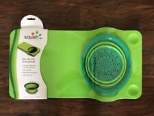 SQUISH Brand 41007 Over The Sink Cutting Board - Removable Colander - NEW