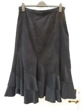 WALLIS Ladies Size 14 Black Boho Wicca Flippy Hem Cotton Corduroy Midi Skirt