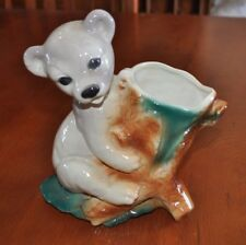 vintage 1950s midcentury Royal Copley white gray bear cub in a tree planter