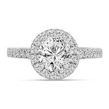 1.59 Carat Diamond Engagement Ring, Halo Pave Bridal Ring 14K White Gold