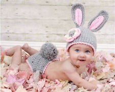 Newborn Boy Girl Grey Rabbit Theme Crochet Knit Costume Photography Prop Outfit
