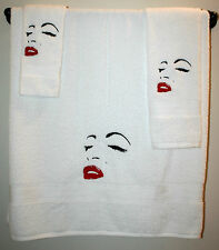 Marilyn Monroe Inspired 3pc TowelSet-1Bath,1Hand,1Cloths Embroider Face Outline