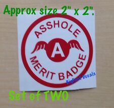 MINI Funny Car Decal A**Hole Merit Badge Award Lot Of 2 Car Truck Window Sticker