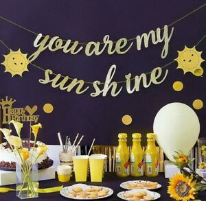 YOU ARE MY SUNSHINE GOLD GLITTER BANNER BUNTING PARTY DECORATIONS BIRTHDAY 1ST
