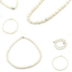 Echte Perlenkette Collier Kette mit Perlen Echtschmuck weiß-beige Damen 45cm NEU
