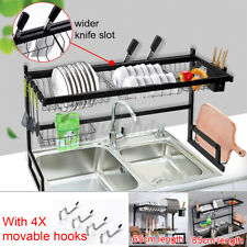 65/85CM Kitchen Over Sink Dish Drying Rack Stainless Steel Cutlery Holde