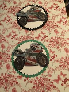 2 x Decoupage Pictures of Motorbikes Theme Toppers