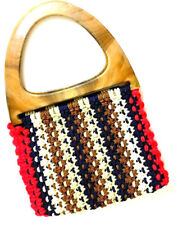 Retro 1960s Vintage Crochet Macrame Handbag Purse Plastic Handles Boho Hippy New