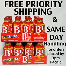 Stacker B12 Energy Shot 2 x 12 Pack 24 Bottles Acai Pomegranate 2 oz Sealed New