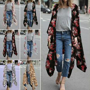UK Womens Floral Kimono Cardigan Boho Beach Casual Blouse Loose Tops Long Coat