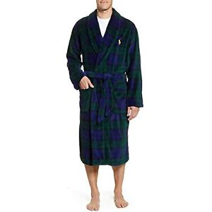 Polo Ralph Lauren Men's Microfiber Plaid Shawl Robe, Green, Size L/XL, $90, NwT