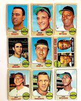 Lot of 9 1968 Topps HOUSTON ASTROS vintage baseball cards Mike Cuellar, Jim Wynn