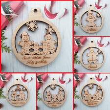 Christmas Bauble Personalised Family Tree Decoration Family Wooden Xmas PLY