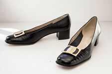 Salvatore Ferragamo 7 Narrow Black Alligator Print Women's Shoes