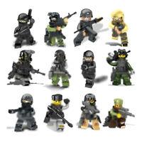 12pcs/lot Militär Soldaten Figuren Bausteine Blocks mit WW2 Waffen Spielzeug