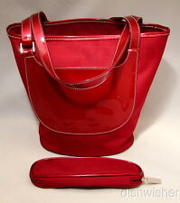NEW Estee Lauder Red Travel Handbag Shoulder Bag with Eyeglass Makeup  Pouch