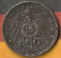 1914 German State of Prussia- 3 Mark- 90% Silver- Only 2 Million Minted- Beauty