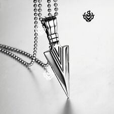 Silver Stainless Steel dart spear Pendant ball Chain Necklace solid