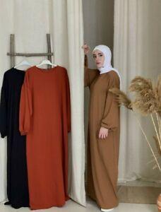 Women Plain Abaya Modest Dress Burqa Kaftan Farasha Jilbab Eid Ladies Maxi Dress