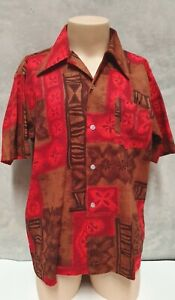 Vintage Hawaiian Collection Barkcloth Cotton Short Sleeve Shirt L Tiki  FreePost