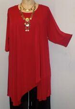 "Coco & Juan Lagenlook Plus Size Tunic Red Traveler Knit Asymmetric Top 3X4X B60"""