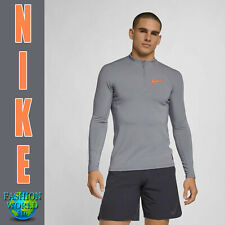 Nike Men's Size 2Xl Pro Hyperwarm 1/2 Zip Training Top Aq4905 065 Grey/Orange