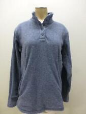 Bench thick soft blue fleece 1/2 button snap Jacket coat zip pkts womens Medium