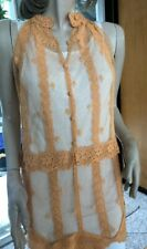 Lim'S Intricate Hand Crochet Sleeveless Mini Dress Color Apricot One Size S to M
