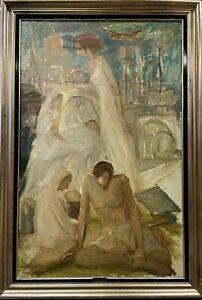 quadro antico dipinto a ad olio su tela 900 grande religioso con cornice dorata