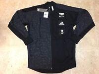 Adidas Men Varsity Jacket Lightweight Black Jacquard Gym CD3938 Size MEDIUM New