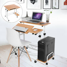 Wood Rolling Computer Desk Laptop Table Workstation Study Home Office Furniture