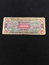 Alliierte Militarbehorde $100 Mark Series 1944 196b Deutschland- hole at center