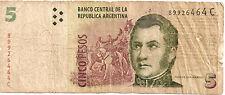 Argentina: 5 Pesos Type Jose de San Martin (Muy Usado)