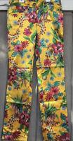 D&G Dolce & Gabbana Marigold Hibiscus Floral Silky Dress Pants 38(EU), 2(US)
