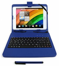 Blue Faux Leather Stand Case with German Keyboard for Acer Iconia W4 / W3 / A1