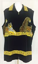 Vintage 1980's Panther And Tiger Long Silk Vest. Women's. XXL.
