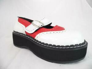 "DEMONIA ""EMILY 302 ""  RED WHITE PLATFORM MARY JANE BUCKLE OXFORD GOTH PUNK 10"