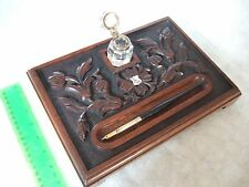 Queen Victoria Silver Carved Wooden Ink Well Stand Glass Well & Dip Pen
