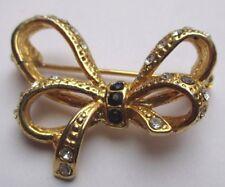 Élégante broche bijou vintage plaqué or noeud cristaux diamant 780