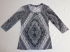 Kiara Women's Blouse Black White 3/4 Sleeve Bling Embellished Top Size Small