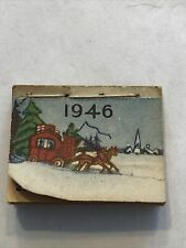 Vintage Dollhouse Miniature 1946 Calendar Sewn Edge Winter Scene Cover All Mos