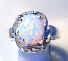 """GORGEOUS WHITE  FIRE OPAL  RING UK Size """"R""""  US 9"""