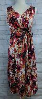 Eddie Bauer Dress Womens Small Cotton Floral A Line Tank Orange Pink V-neck