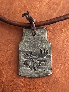 ABERCROMBIE and & FITCH Vintage Leather Necklace BOHO RARE LUCKY Metal Moose