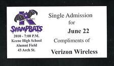 Keene Swamp Bats--2010 Verizon Wireless Comp Ticket--NECBL