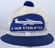 Vtg C-141B Starlifter Large Sewn Patch Jet All Mesh Pom Top K-Brand Aviator Hat