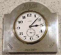 Hallmarked 1923 Swiss Made Walker & Hall Silver Desk Clock Antique Inscription